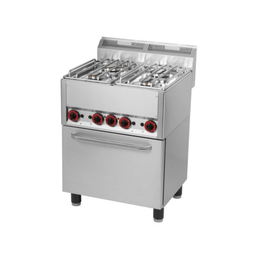 4-Flammen-Gasherd 660x600x860/920 mm, mit Heißluftofen, - GGG - Gastroworld-24