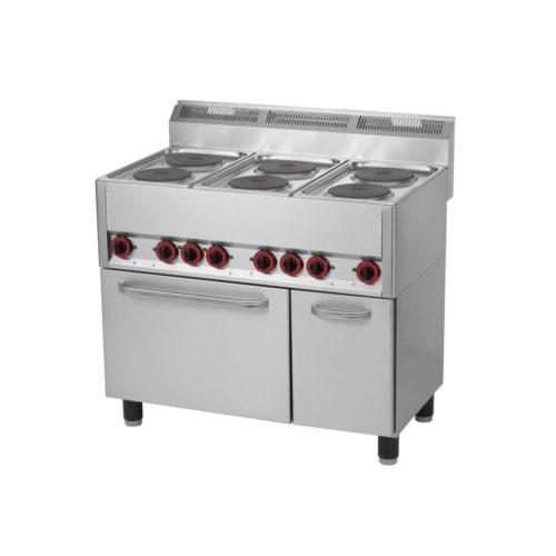 6-Platten-Elektroherd 990x600x860/920mm, mit Heißluftback- - GGG - Gastroworld-24