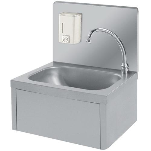 Handwaschbecken mit Kniebedienung und Seifenspender