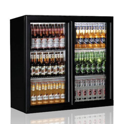 Barkühlschrank mit 2 Glasflügeltüren