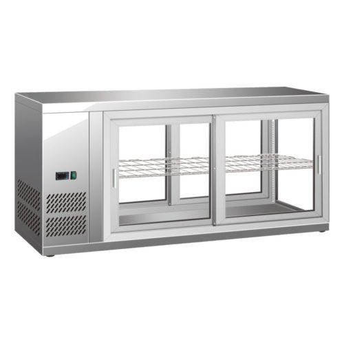 Kühl-Schauvitrine, 150 L, 1110x510x550 mm, Umluftkühlung, - GGG