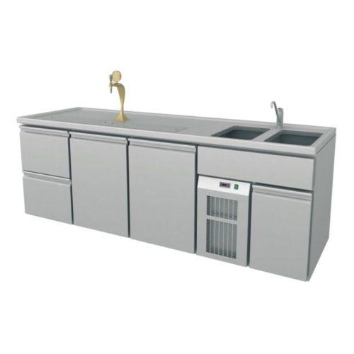 Ausschanktheke, 2500x700x930 mm, Umluftkühlung, 400 W, - GGG