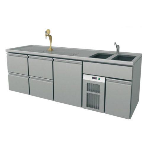 Ausschanktheke 2500x700x930 mm, Umluftkühlung, 400 W, - GGG