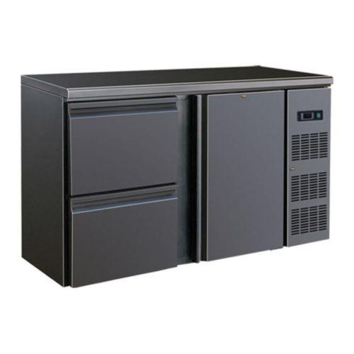 Flaschenkühltisch, schwarz, 1 Tür,  2 Schubladen, 4 Böden - GGG