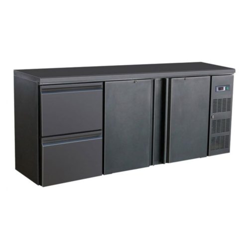 Flaschenkühltisch, schwarz, 2 Türen, 2 Schubladen, 280 W - GGG