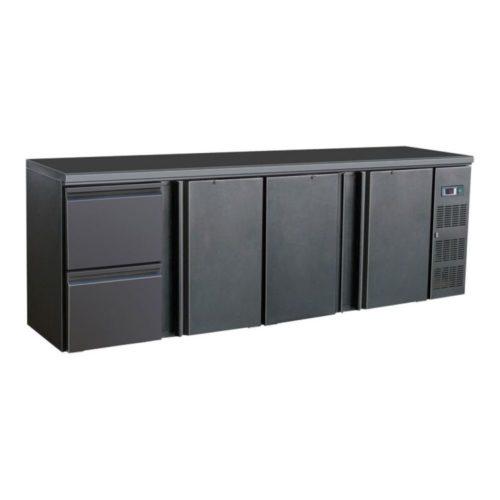 Flaschenkühltisch, schwarz, 3 Türen, 2 Schubladen, 320 W - GGG