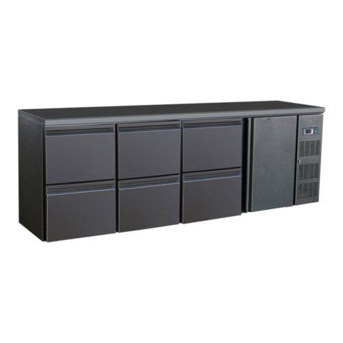Flaschenkühltisch, schwarz, 1 Tür, 6 Schubladen, 320 W, - GGG