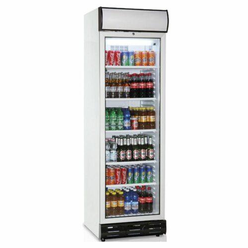Getränkekühlvitrine 379 Liter mit Glastür und Werbedisplay
