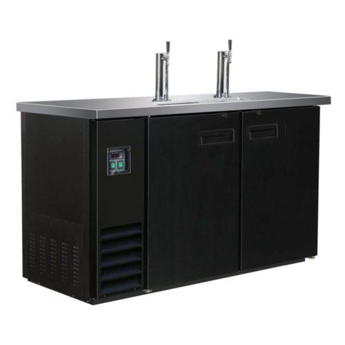 Ausschanktheke, 1247x620x1060 mm, schwarz, 2 Zapfhähne, 346L - GGG