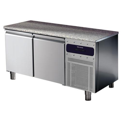 Bäckereikühltisch 2 türig 600x400 mm mit Granitarbeitsplatte