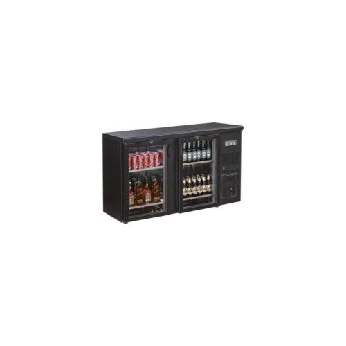 Flaschenkühltisch, 1462x513x860 mm, schwarz, 349.5 L, - GGG