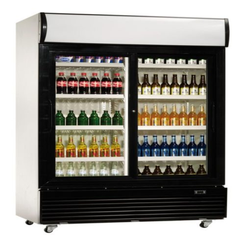 Flaschenkühlschrank, 1200x730x2036 mm, 2 Schiebetüren, - GGG