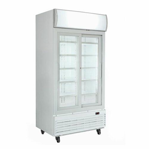 Tiefkühlvitrine 1000 Liter mit 2 Glasflügeltüren und Werbedisplay