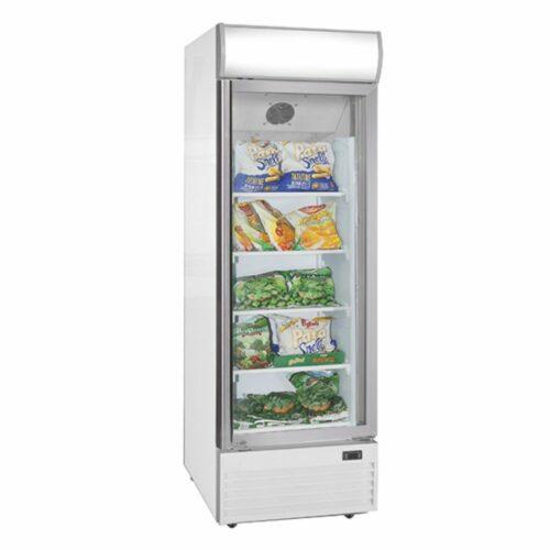 Tiefkühlvitrine 400 Liter mit Glastür und Werbedisplay