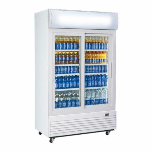 Getränkekühlvitrine 1000 Liter mit 2 Glasschiebetüren und Werbedisplay