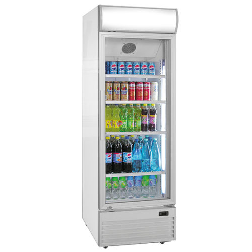 Getränkekühlvitrine 430 Liter mit Glastür und Werbedisplay
