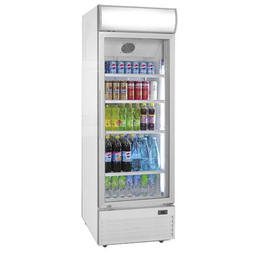Getränkekühlvitrine 530 Liter mit Glastür und Werbedisplay