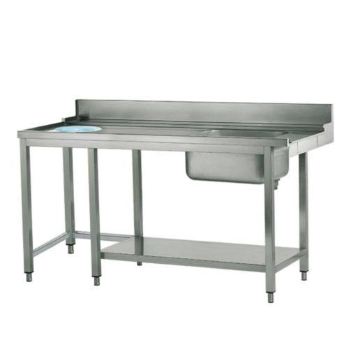 linker Zulauftisch mit Becken rechts und Abfallloch
