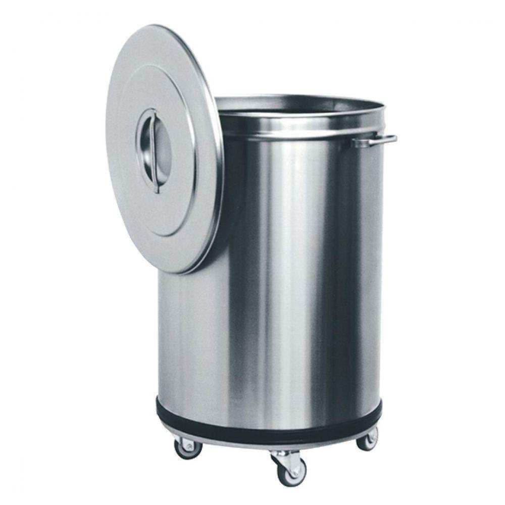 Abfalleimer in Edelstahl auf Rädern, 50 Liter