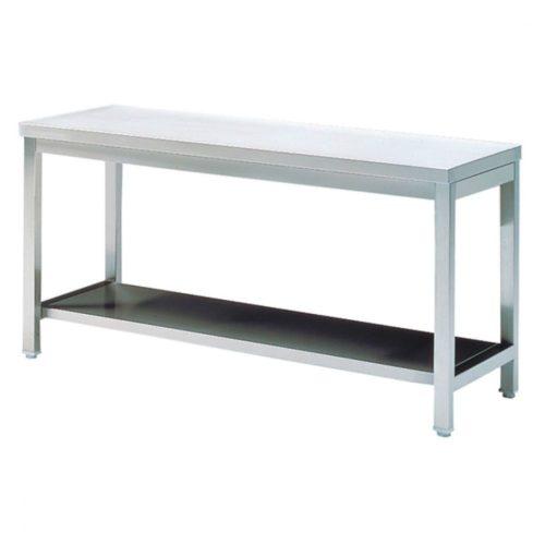 Arbeitstisch mit Zwischenboden, ohne Aufkantung, 1400x700 mm - Virtus - Gastroworld-24