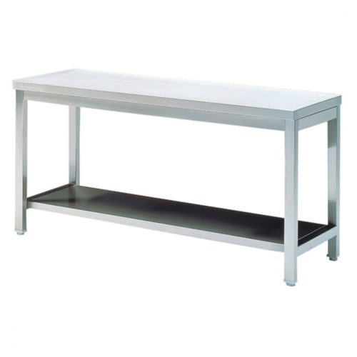 Arbeitstisch mit Zwischenboden, ohne Aufkantung, 800x600 mm - Virtus - Gastroworld-24
