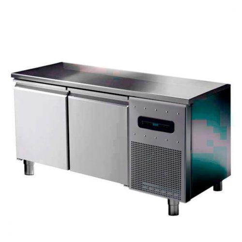Bäckereikühltisch 2 türig 600x400 mm mit Edelstahlarbeitsplatte, -2°/+8°C - Virtus - Gastroworld-24