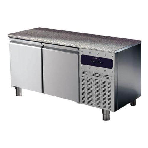 Bäckereikühltisch 2 türig 600x400 mm mit Granitarbeitsplatte, -2°/+8°C - Virtus - Gastroworld-24