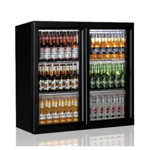 Barkühlschrank mit 2 Glasflügeltüren, 201 Liter, +1°/+10°C - Virtus - Gastroworld-24
