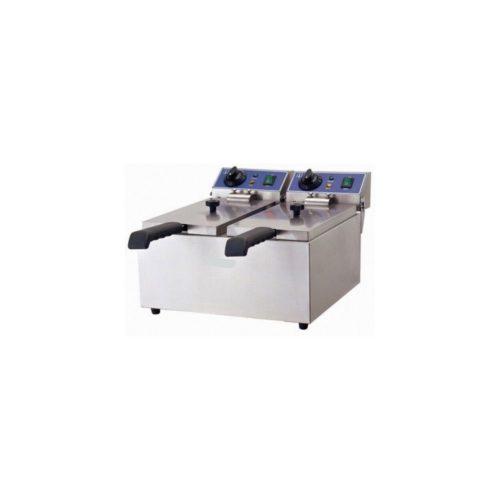 Doppel-Fritteuse, Eektro, 480x420x310 mm, Edelstahl, - GGG - Gastroworld-24