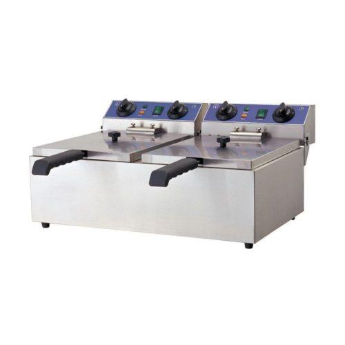 Doppel-Fritteuse, Elektro, 590x440x285 mm, Edelstahl, - GGG - Gastroworld-24