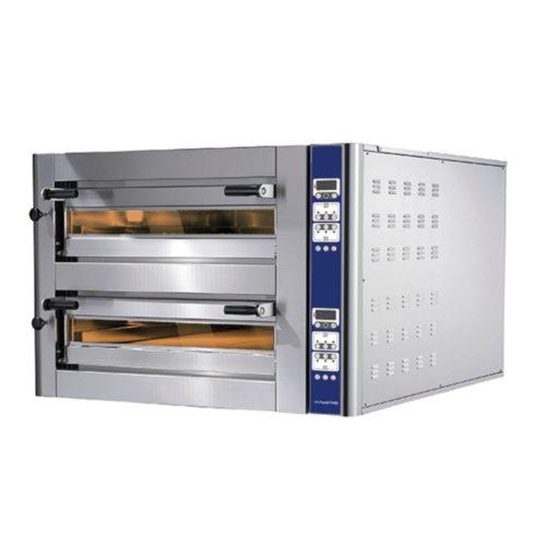 Elektro-Pizzaofen für 4+4 Pizzen ø 350 mm, elektronische Bedienung - Virtus - Gastroworld-24