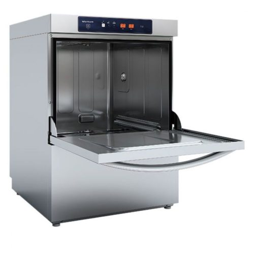 Geschirrspüler mit Spülmitteldosierer und Ablaufpumpe, elektronisch, Korbmaß 50x50 cm, max H=38 cm - Virtus - Gastroworld-24