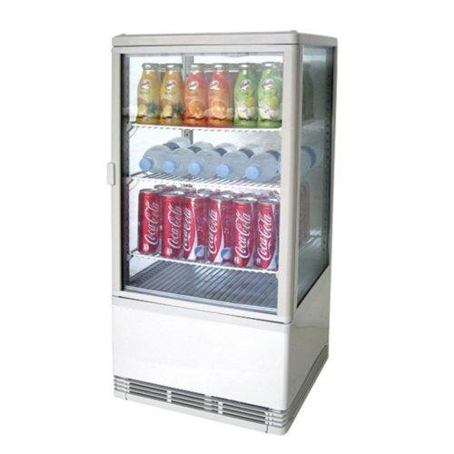 Getränkekühlvitrine mit 3 Böden, Tischmodell, 70 Liter, 0°/+12°C, Farbe weiß - Virtus - Gastroworld-24