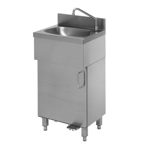 Handwaschbecken auf geschlossenem Unterbau mit Fußbedienung - Virtus - Gastroworld-24