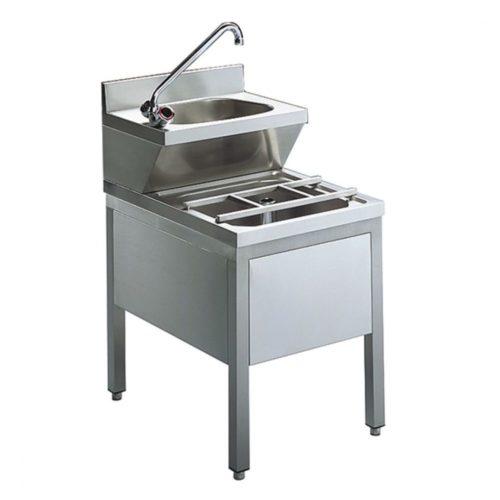 Handwaschbecken mit Ausgusskombination, 500x600 mm - Virtus - Gastroworld-24