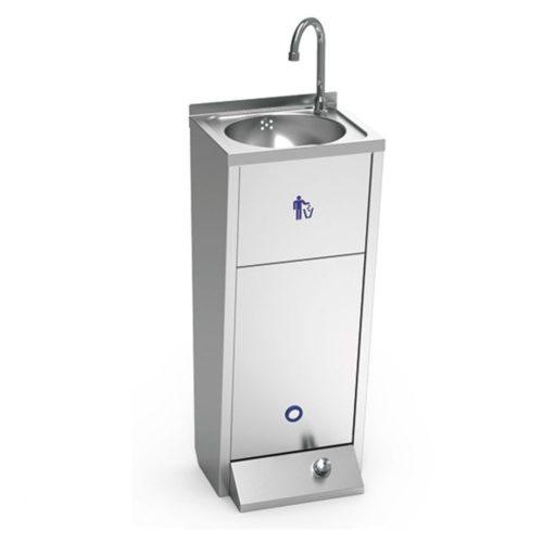 Handwaschbecken mit Fußbedienung und Papiereimer - Virtus - Gastroworld-24