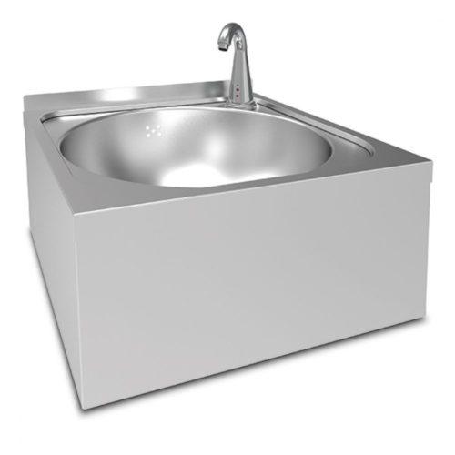 Handwaschbecken Ø 390 mm für Wandmontage mit elektronischer Armatur - Virtus - Gastroworld-24