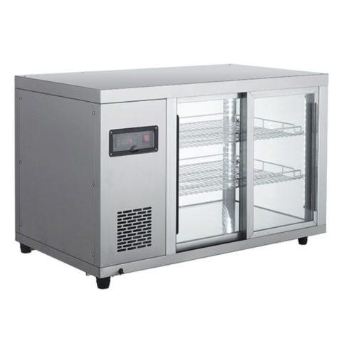 Kalte Theke mit  2 Regalböden und Schiebetüren, +2°/+12°C, B=910 mm - Virtus - Gastroworld-24