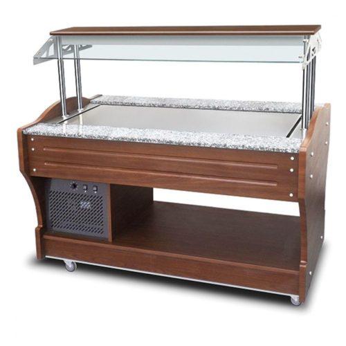 kaltes Buffet mit statischer Kühlplatte, Inselmodell, 4x GN 1/1, Haube nicht absenkbar - Virtus - Gastroworld-24