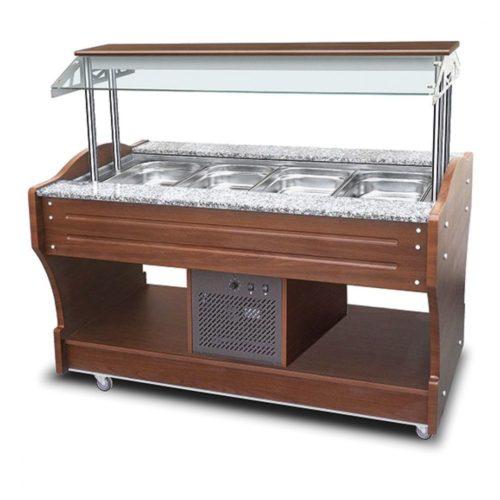 kaltes Buffet mit statischer Kühlung, Inselmodell, 4x GN 1/1 H=150 mm, Haube nicht absenkbar - Virtus - Gastroworld-24