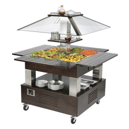 kaltes Buffet mit statischer Kühlung, Inselmodell, 4x GN 1/1 H=150 mm - Virtus - Gastroworld-24
