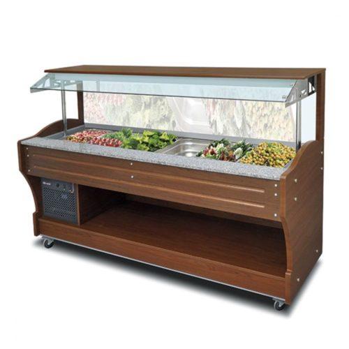 kaltes Buffet mit statischer Kühlung, Wandmodell, 6x GN 1/1 H=150 mm, Haube nicht absenkbar - Virtus - Gastroworld-24