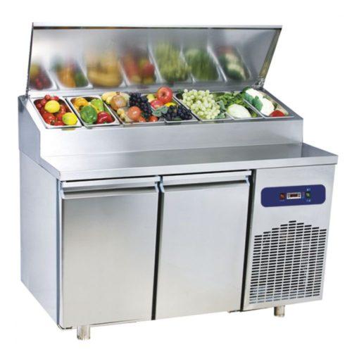 Kühl-Vorbereitungstisch mit 2 Türen GN 1/1, 7x GN 1/3 H=150 mm, -2°/+8°C - Virtus - Gastroworld-24
