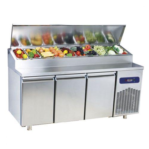 Kühl-Vorbereitungstisch mit 3 Türen GN 1/1, 10x GN 1/3 H=150 mm, -2°/+8°C - Virtus - Gastroworld-24