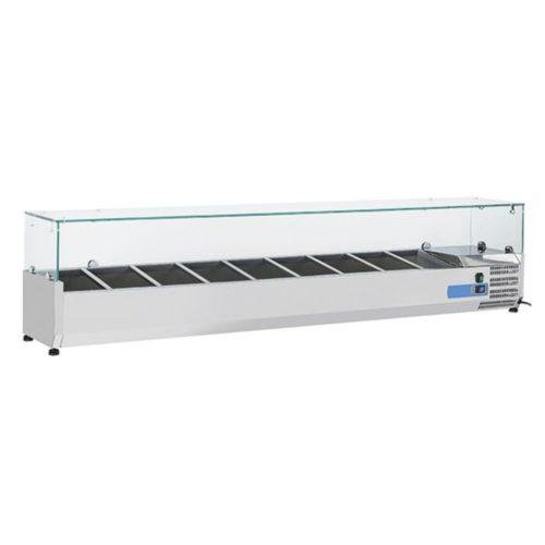 Kühlaufsatzvitrine 10x GN 1/4 H=150 mm, +2°/+8°C - Virtus - Gastroworld-24