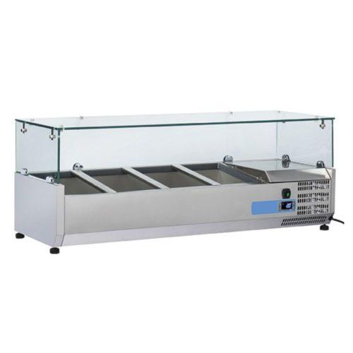 Kühlaufsatzvitrine 3x GN 1/3 + 1x GN 1/2 H=150 mm, +2°/+8°C - Virtus - Gastroworld-24
