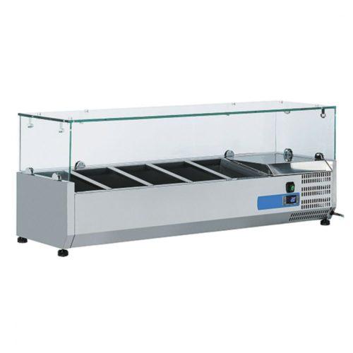 Kühlaufsatzvitrine 5x GN 1/4 H=150 mm, +2°/+8°C - Virtus - Gastroworld-24