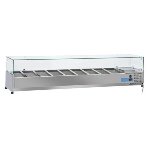 Kühlaufsatzvitrine 7x GN 1/3 + 1x GN 1/2 H=150 mm , +2°/+8°C - Virtus - Gastroworld-24