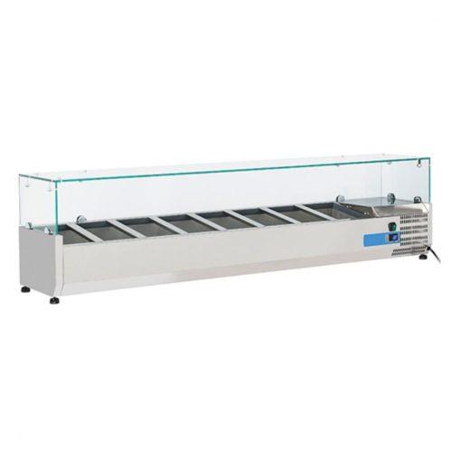 Kühlaufsatzvitrine 8x GN 1/4 H=150 mm, +2°/+8°C - Virtus - Gastroworld-24