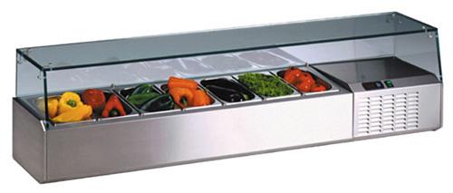 MKD 198 Aufsatzkühlvitrine Glasaufbau 4x1/4 5x1/6 5x1/9 - Produkt - Gastrowold-24 - Ihr Onlineshop für Gastronomiebedarf